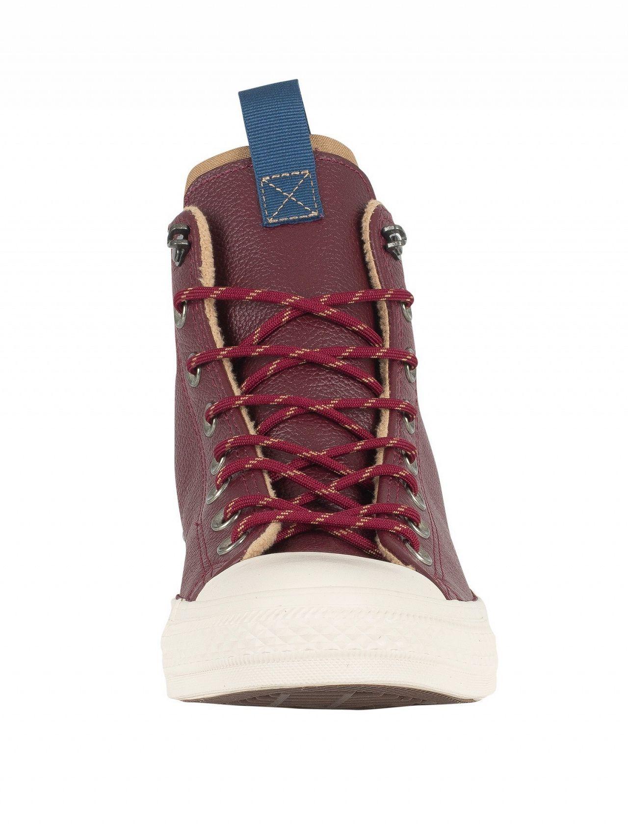 faaa53740c4e Converse Dark Burgundy Teak Driftwood CT All Star Leather Trainers ...