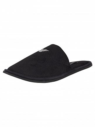 Emporio Armani Black Knitted Slippers