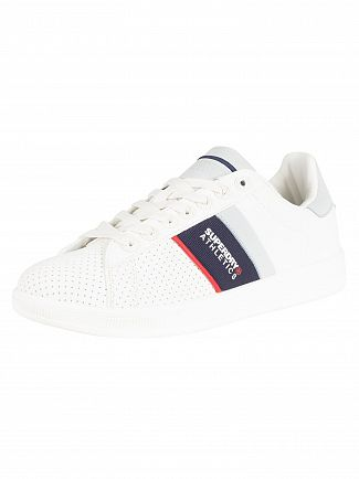 Superdry Optic White/Dark Navy/Red Sleek Tennis Trainers