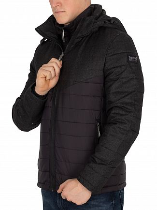 Superdry Black Tweed Mix Chevron Fuji Jacket