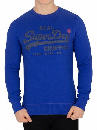 Superdry Cobalt Blast Blue Vintage Logo Panel Stripe Sweatshirt
