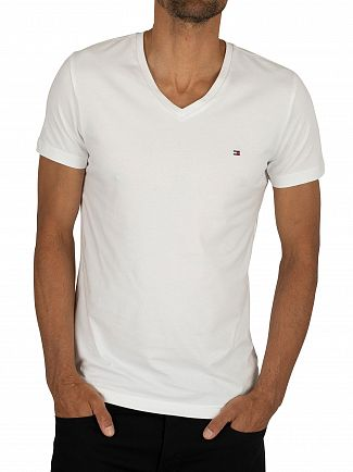 Tommy Hilfiger Bright White Core Stretch Slim V-Neck T-Shirt