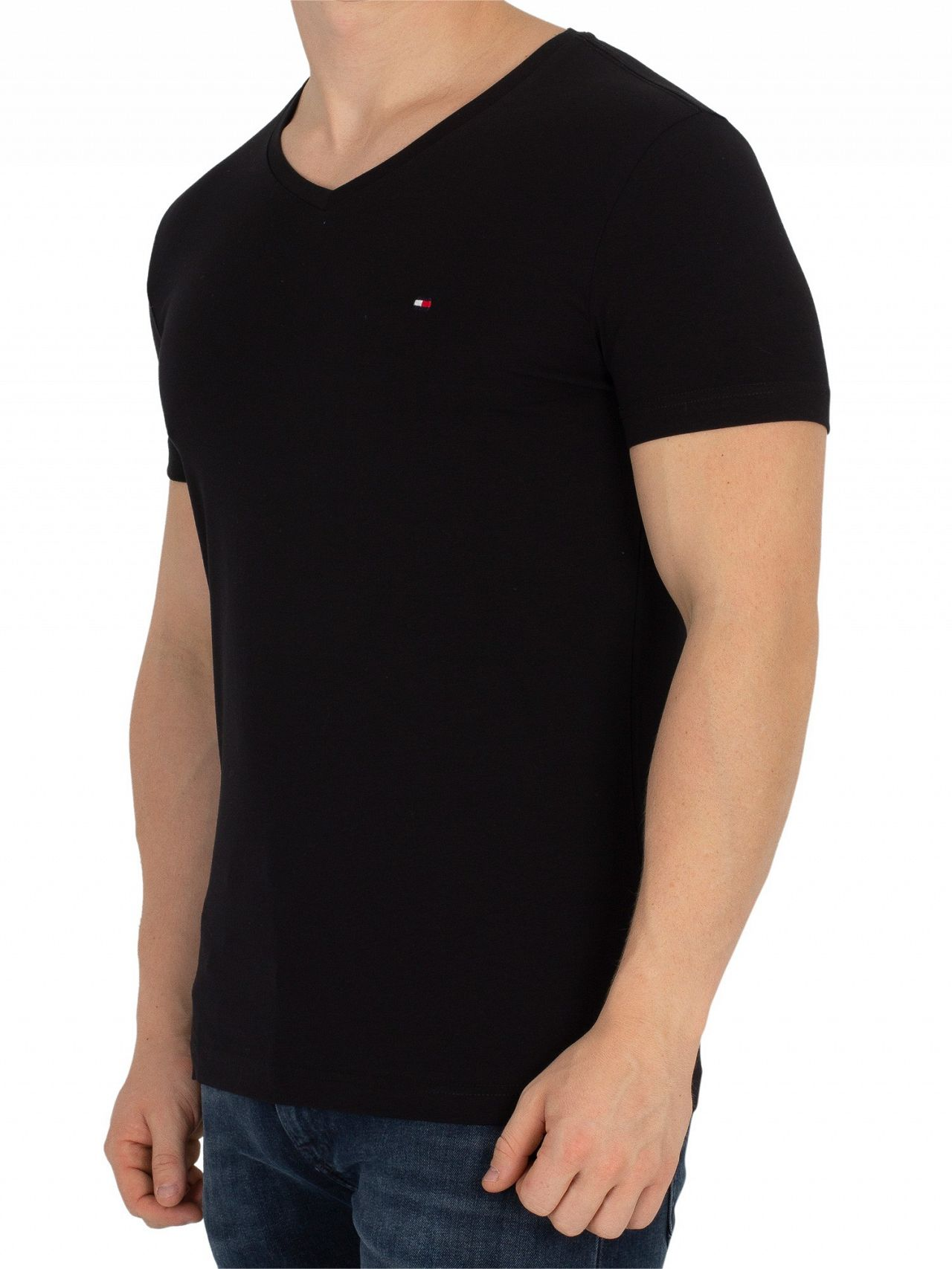 3e4f0cc5 Tommy Hilfiger Flag Black Core Stretch Slim V-Neck T-Shirt. Tap to expand