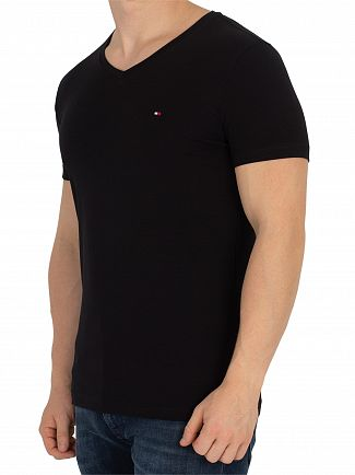 Tommy Hilfiger Flag Black Core Stretch Slim V-Neck T-Shirt