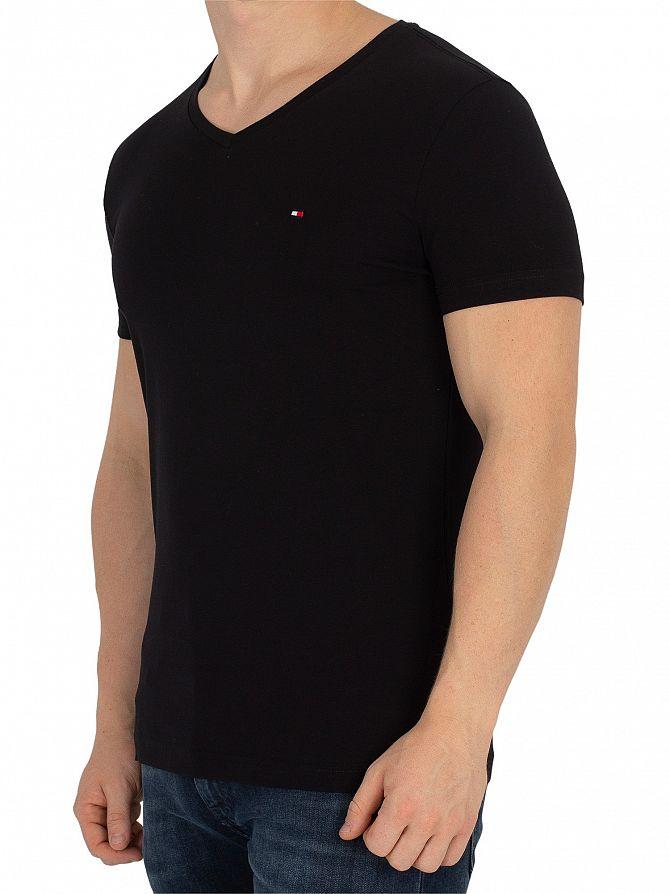 c8fbf29b3 Tommy Hilfiger Men's Core Stretch Slim V-Neck T-Shirt, Black | eBay