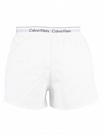 Calvin Klein White/White 2 Pack Modern Cotton Stretch Trunks