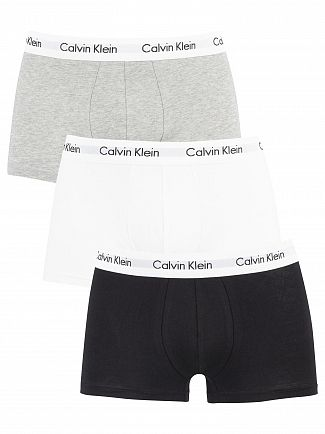 Calvin Klein Black/White/Grey Heather 3 Pack Low Rise Trunks