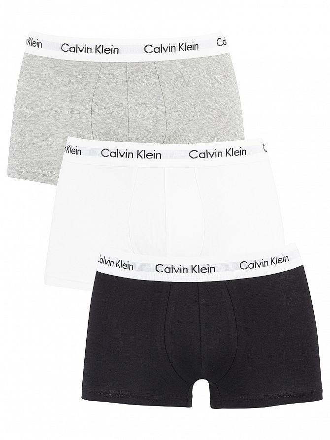 Calvin Klein Black/White/Grey Heather 3 Pack Low Rise Trunks