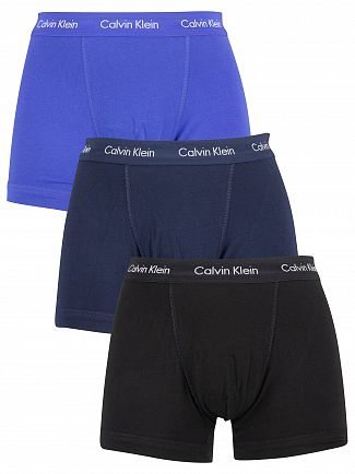 Calvin Klein Black/Blue Shadow/Cobalt Water 3 Pack Trunks