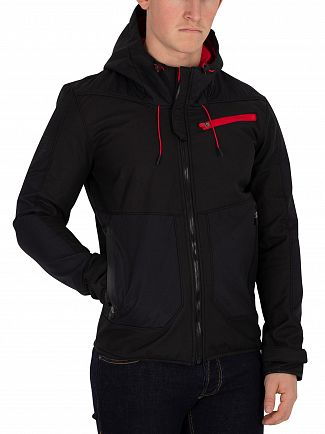 Superdry Black/Court Red Hybrid Windtrekker Jacket