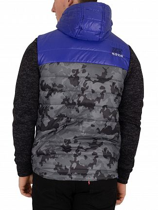 Superdry Black Heather/Cobalt Storm Hybrid Camo Block Jacket