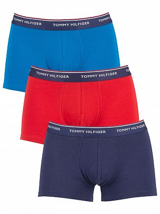 Tommy Hilfiger Mykonos Blue/Pompeian Red/Peacoat 3 Pack Premium Essentials Trunks
