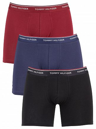 Tommy Hilfiger Pomegranate/Peacoat/Black 3 Pack Premium Essentials Trunks