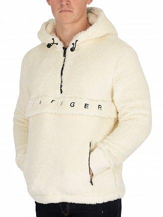 Tommy Hilfiger Whisper White Oversized Teddy Half Rip Hoodie