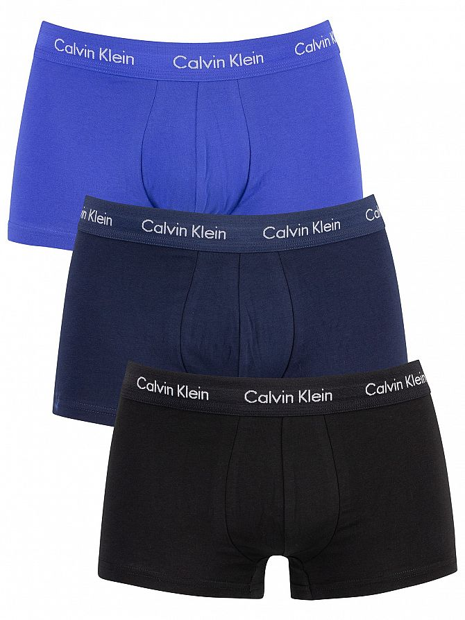 Calvin Klein Black/Blue Shadow/Cobalt Water 3 Pack Low Rise Trunks