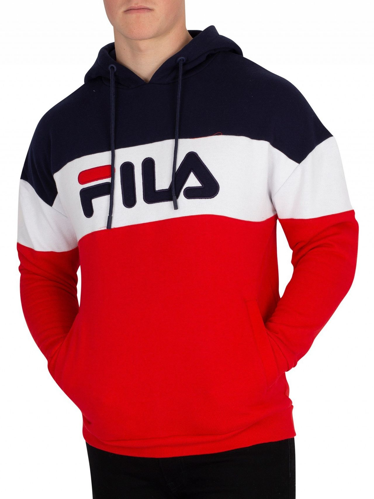 cd6f097caea9 Fila Red/Peacoat/White Rayton Colour Block Pullover Hoodie | Standout