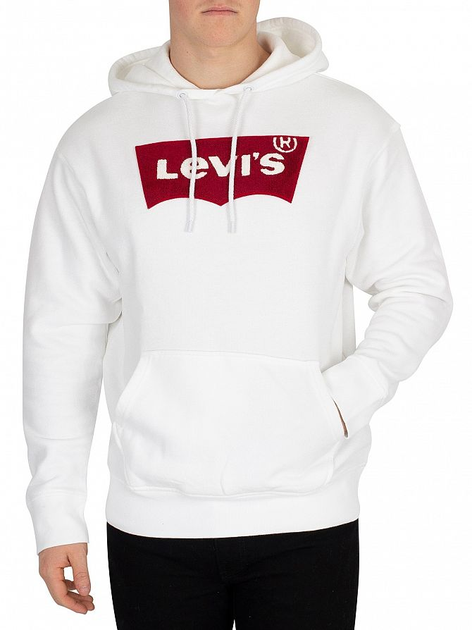 Levi's White Oversized Varsity Batwing Pullover Hoodie