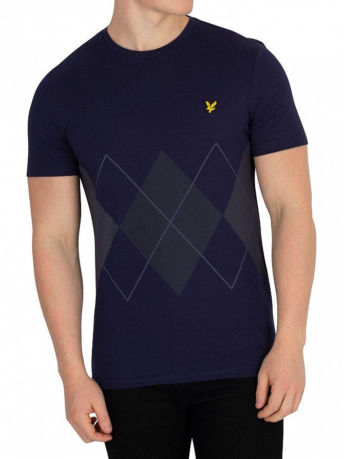Lyle & Scott Navy Argyle T-Shirt