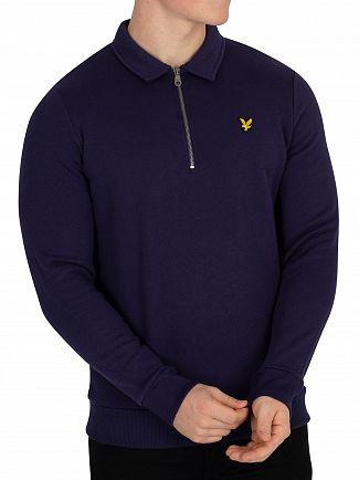 Lyle & Scott Navy Collared 1/4 Zip Sweatshirt