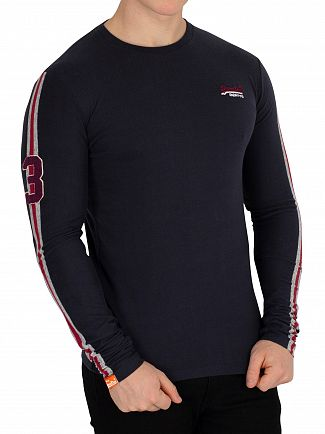 Superdry Highland Navy Orange Label Sport Stripe Longsleeved T-Shirt