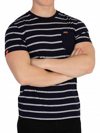 Superdry Navy Auto Portland Stripe Pocket T-Shirt