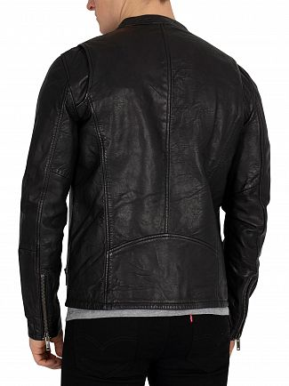 Superdry Black Real Hero Leather Biker Jacket