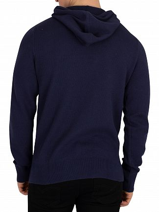 Tommy Hilfiger Black Iris Navy Cotton Mesh Structured Pullover Hoodie