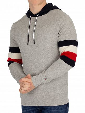 Tommy Hilfiger Cloud Heather Relaxed Fit Stripe Detail Pullover Hoodie