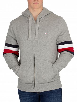 Tommy Hilfiger Cloud Heather Relaxed Pieced Zip Hoodie