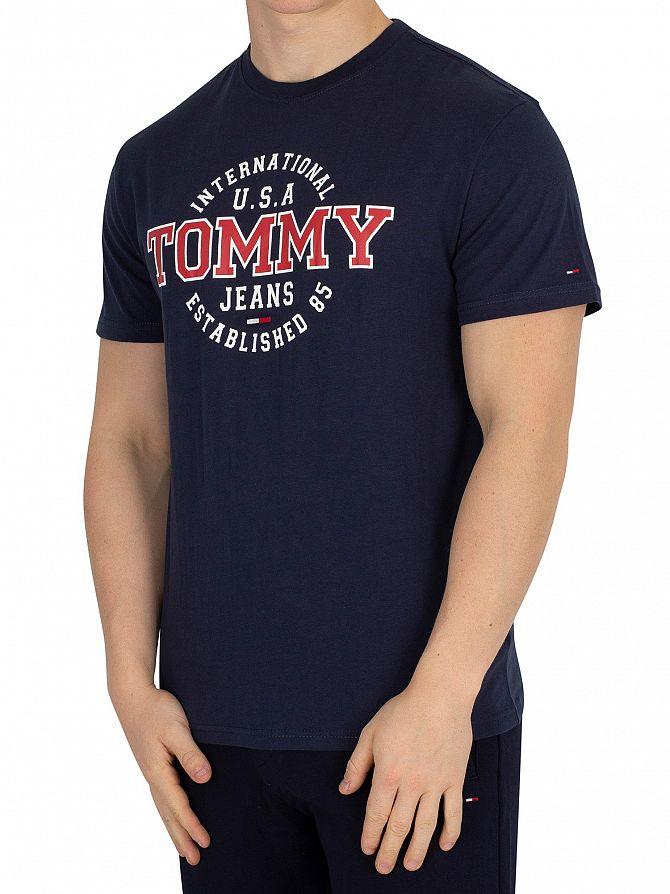 Tommy Jeans Black Iris Navy Circular T-Shirt