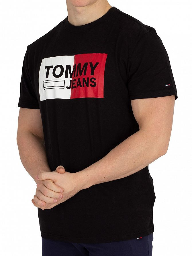 Tommy Jeans Black Essential Split Box T-Shirt