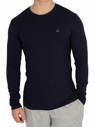 Calvin Klein Hague Blue Longsleeved Chest Logo T-Shirt
