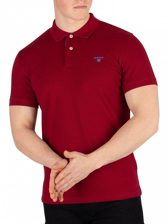Gant Mahogany Red Contrast Collar Rugger Poloshirt