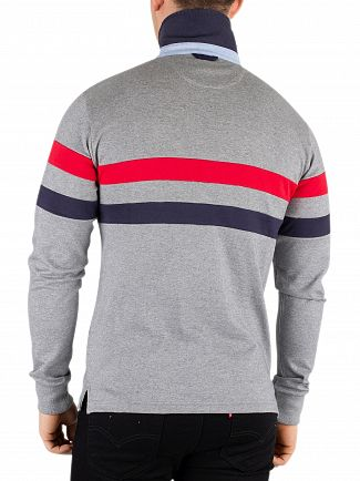 Gant Grey Melange Multi Stripe Heavy Rugger Longsleeved Poloshirt