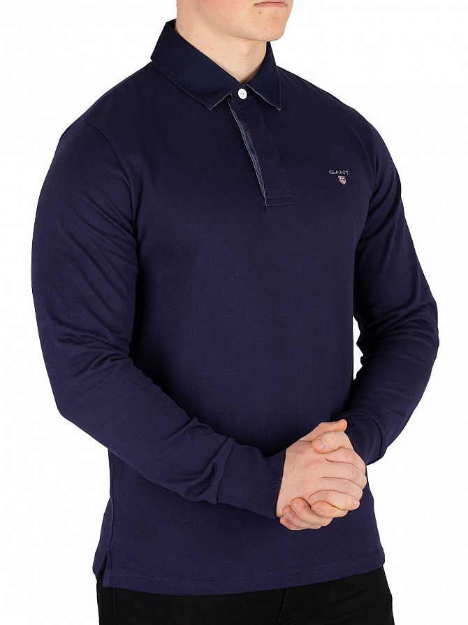 Gant Evening Blue Original Heavy Rugger Longsleeved Polo Shirt