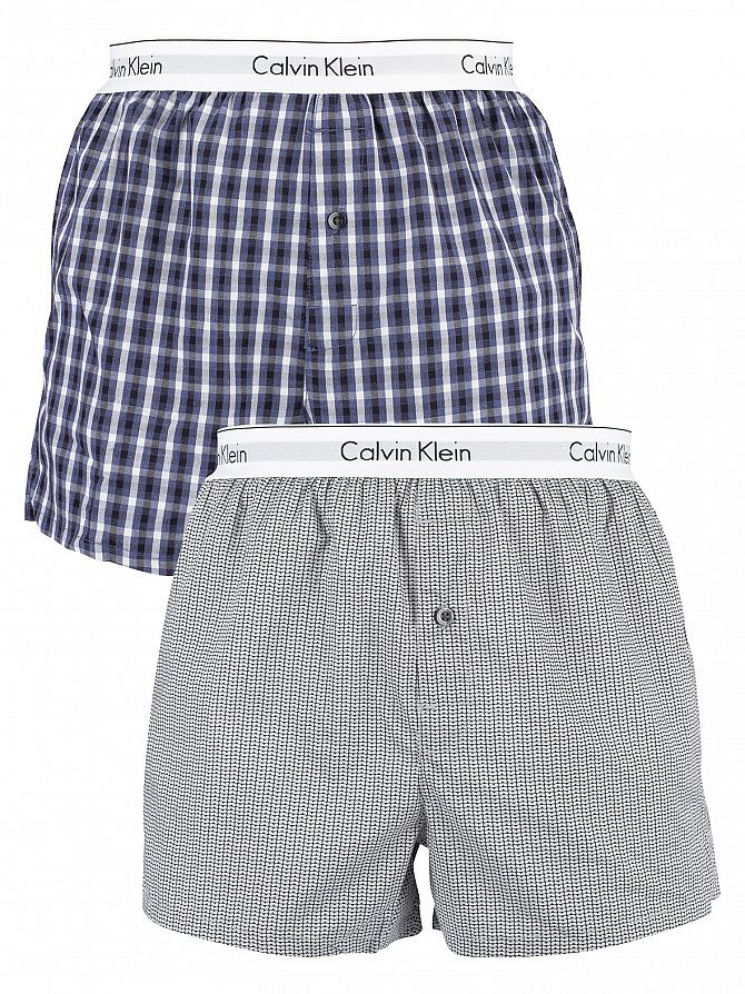 Calvin Klein Stan Plaid/Grey 2 Pack Modern Cotton Stretch Woven Trunks