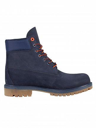 Timberland Navy Nubuck Premium 6 Inch Waterproof Boots