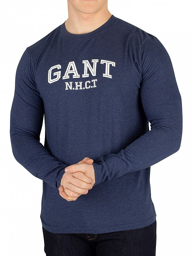 Gant Marine Melange Longsleeved T-Shirt