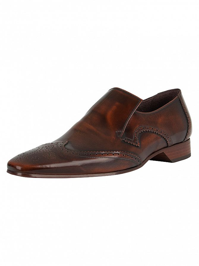 Jeffery West Mid Brown Escobar Polished Leather Shoes