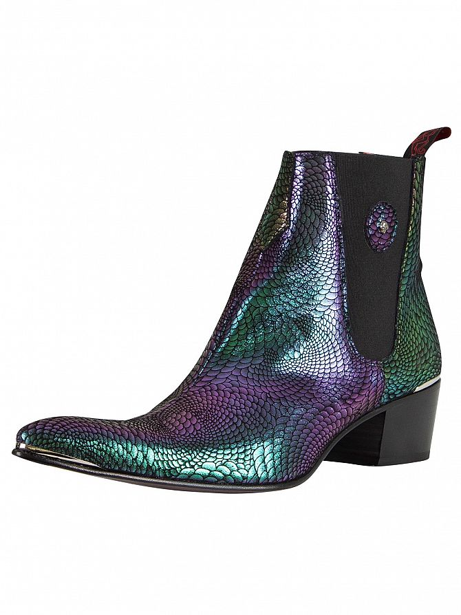 Jeffery West Black Kobra Leather Boots