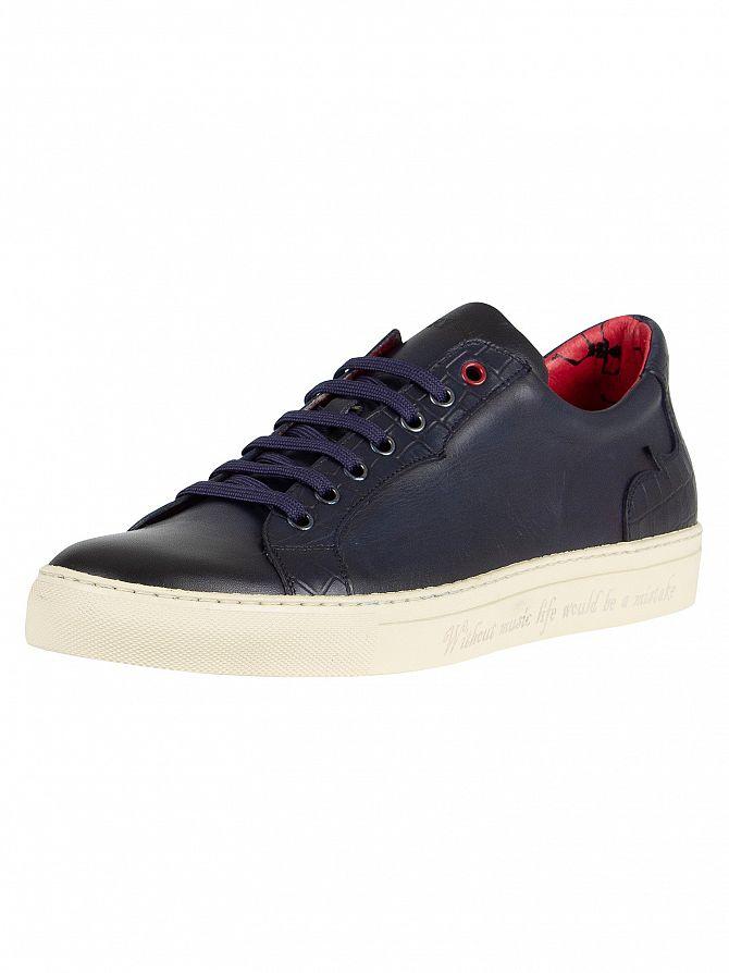 Jeffery West Dark Blue/Croco Print Leather Trainers