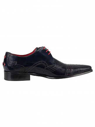 Jeffery West College Dark Blue/Charcoal Red Polished Leather Shoes