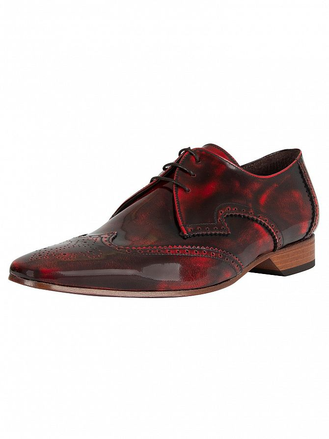 Jeffery West Red Polished Leather Shoes