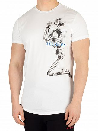 Religion White Skeleton Pocket T-Shirt