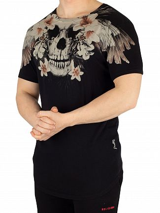 Religion Black Tropical Skull Curved Hem T-Shirt