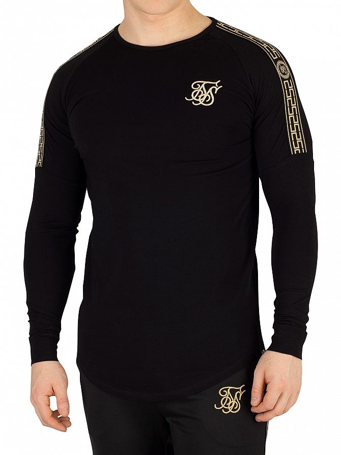 Sik Silk Black Cartel Longsleeved Gym T-Shirt