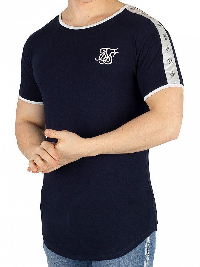 Sik Silk Navy Curved Hem Taped T-Shirt