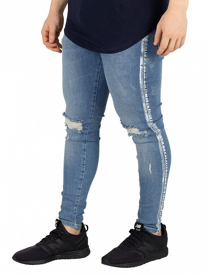 Sik Silk Midstone Knee Burst Paint Stripe Denim Jeans