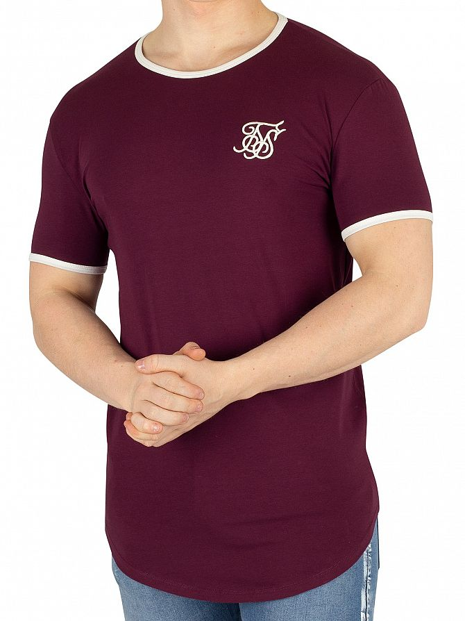 Sik Silk Burgundy Ringer Gym T-Shirt