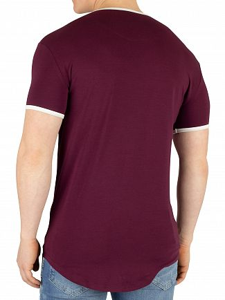 Sik Silk Burgundy Ringer Gym T-Shirt